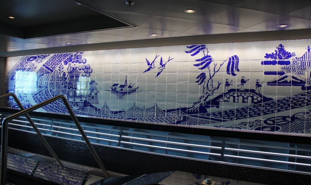 Ceramic Tile Mural placed above swimming pool